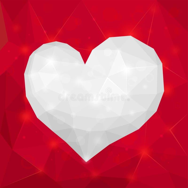 Rojo brillante geométrico del extracto del diseño del día de tarjeta del día de San Valentín y blanco poligonales stock de ilustración