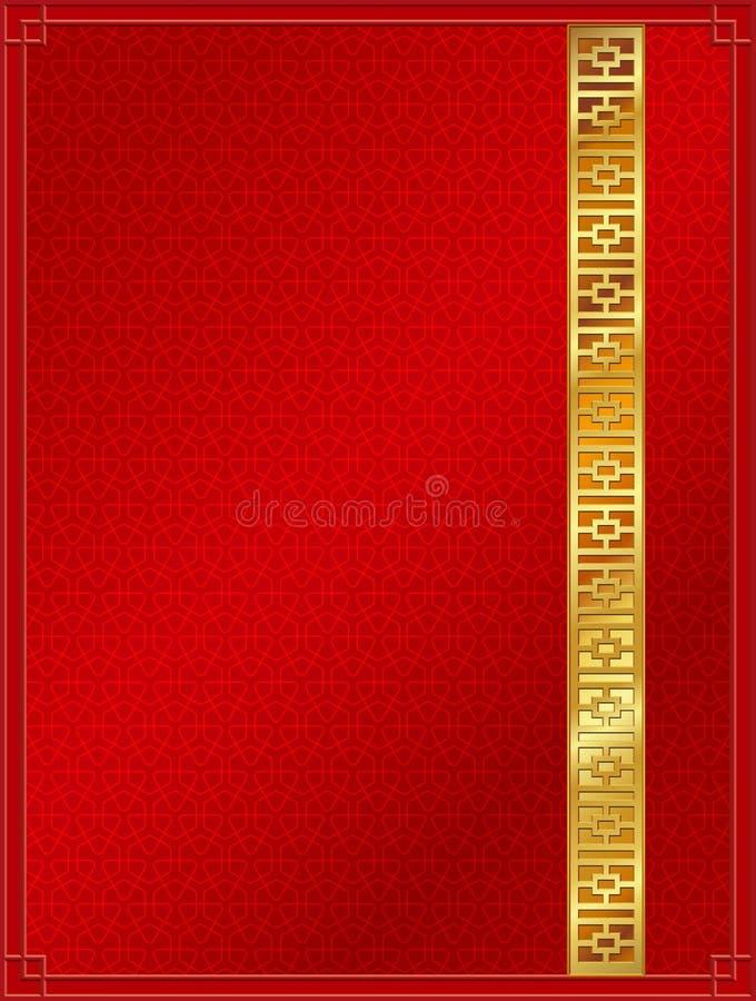 Rojo chino y oro del modelo del fondo del modelo imagenes de archivo