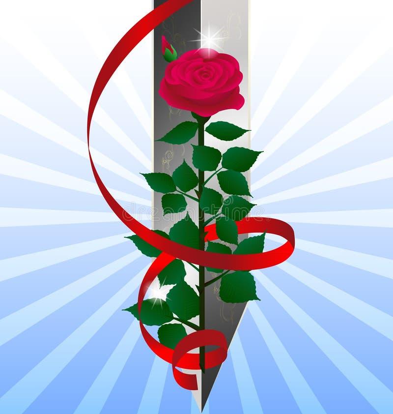 rojo color de rosa y espada stock de ilustración