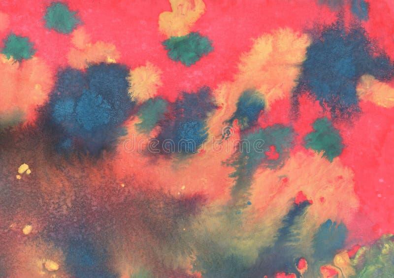 Rojo con el fondo amarillo y azul de la acuarela de la pendiente con las manchas y los divorcios interesantes libre illustration