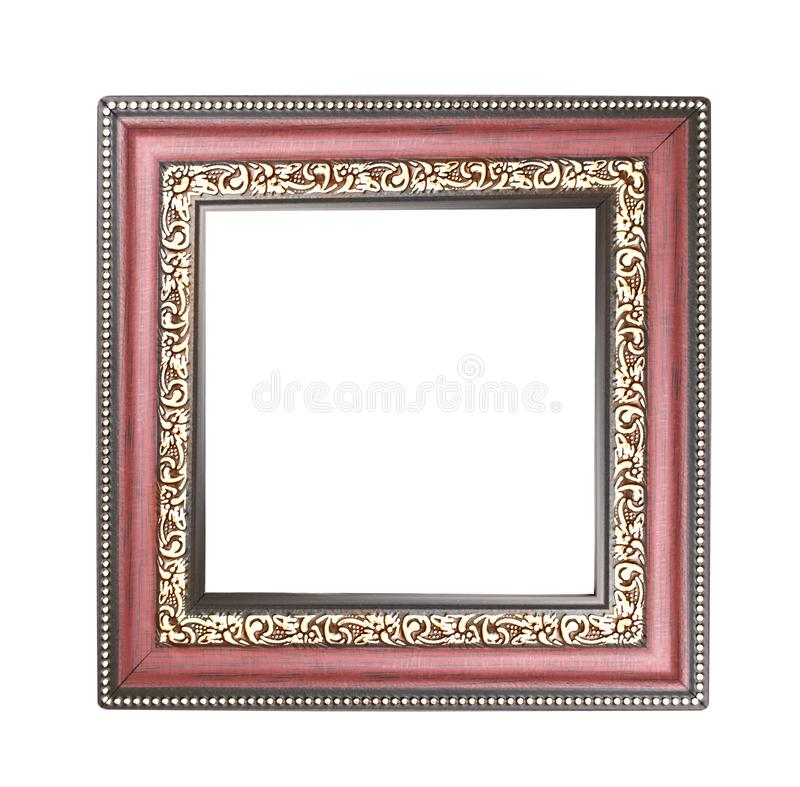 Rojo con el marco del oro con la talla de los estampados de plores aislados en el fondo blanco con la trayectoria de recortes foto de archivo libre de regalías