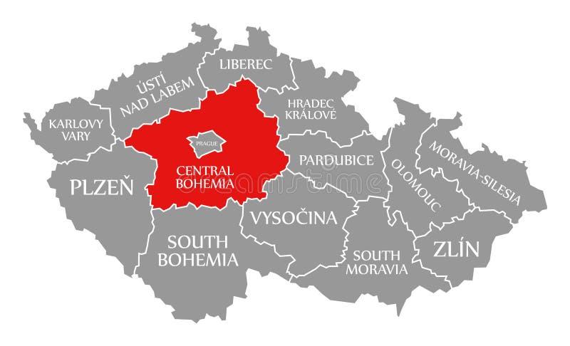 Rojo de Bohemia central destacado en el mapa de la República Checa libre illustration