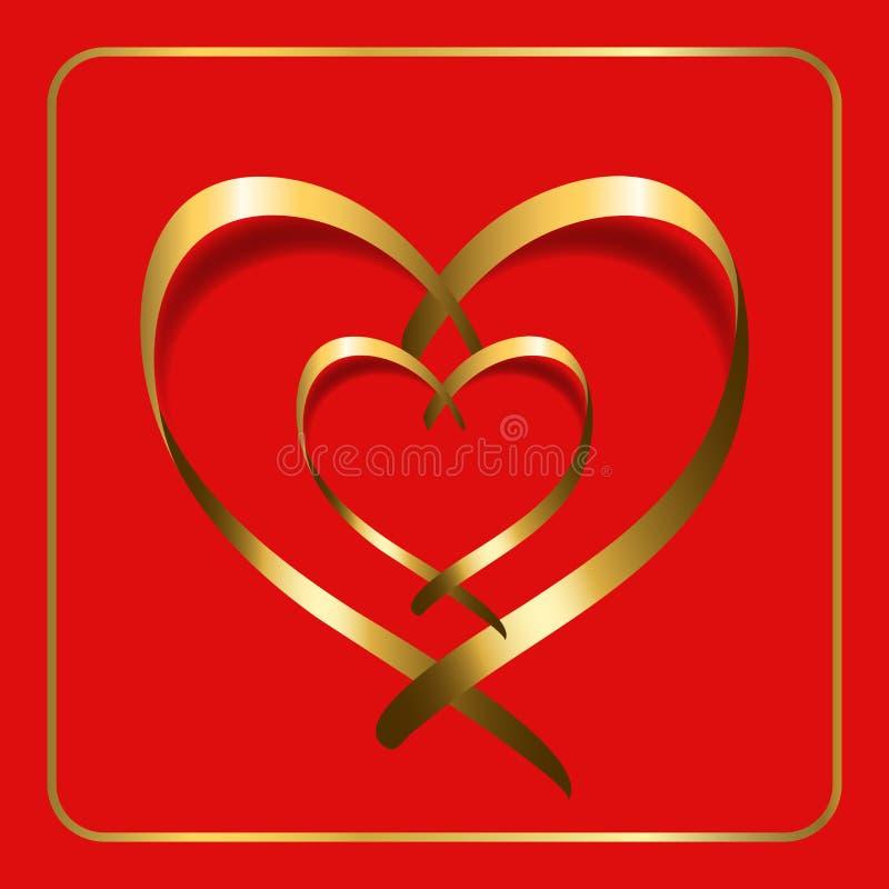 Rojo 2 de la cinta del corazón del oro stock de ilustración