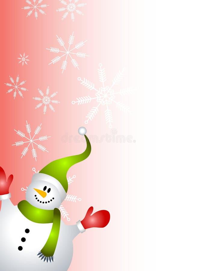 Rojo de la frontera de la paginación del muñeco de nieve ilustración del vector