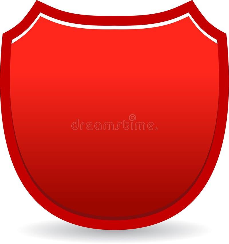 Rojo de la insignia del escudo stock de ilustración