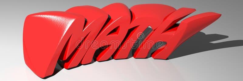 Rojo de la MATEMÁTICAS ilustración del vector
