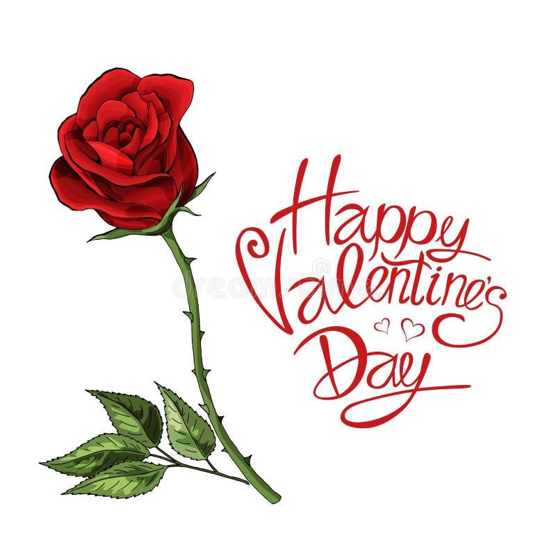 Rojo de la plantilla de la postal del amor del día de San Valentín el solo subió flor con las letras stock de ilustración