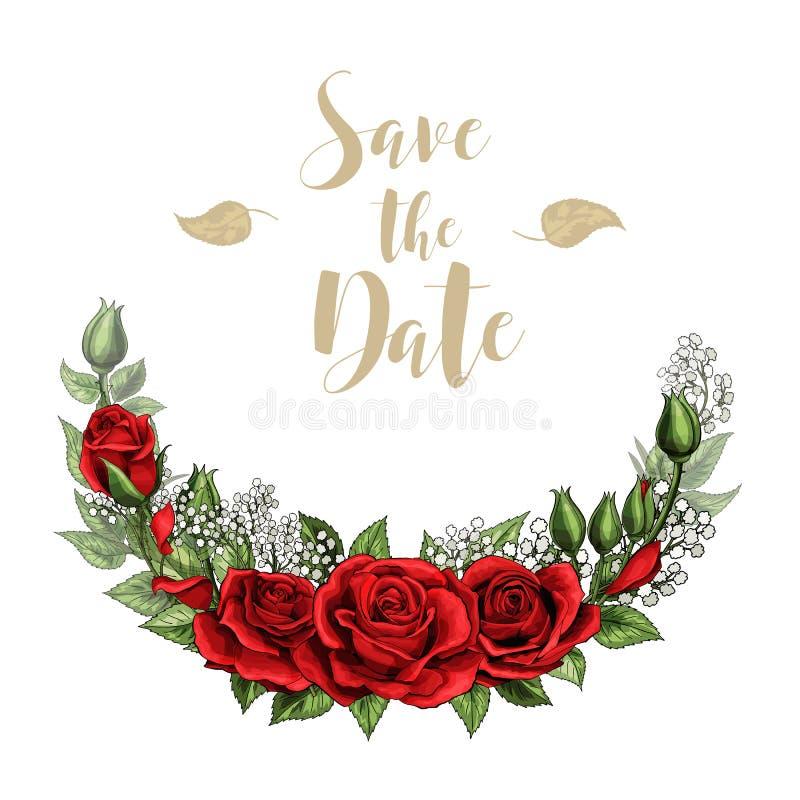 Rojo de la plantilla de la postal del amor del día de San Valentín el solo subió flor con las letras ilustración del vector