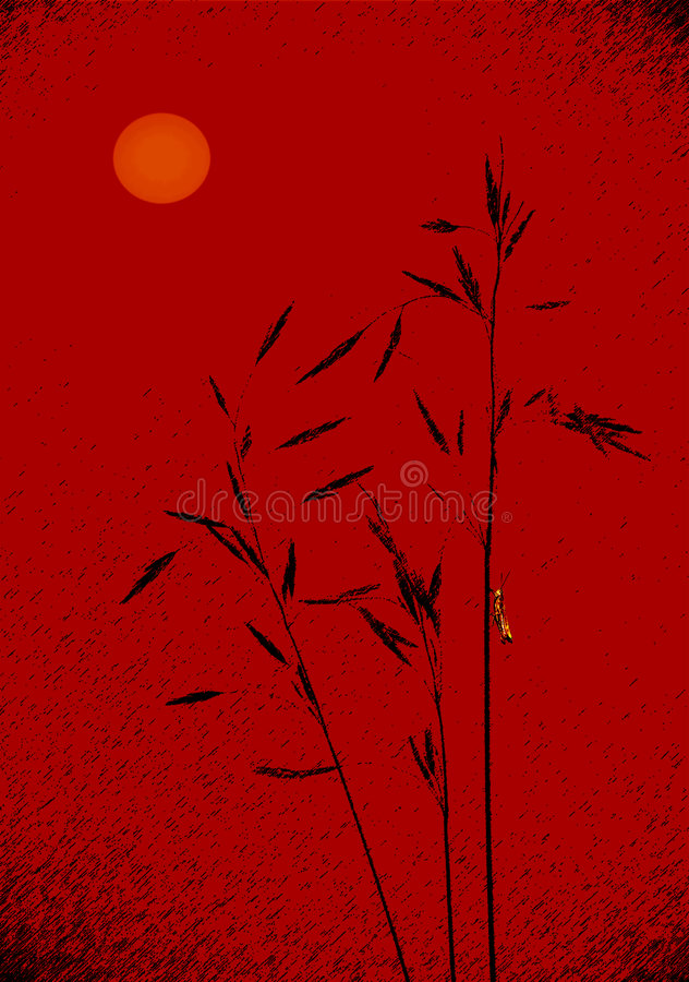 Rojo de la puesta del sol de Japón libre illustration