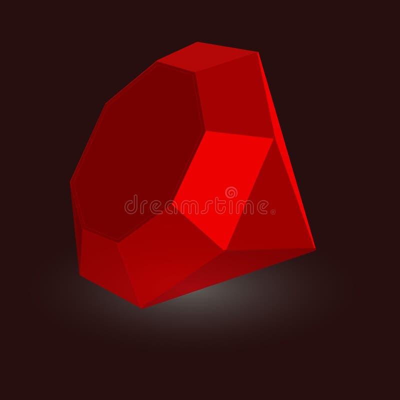 Rojo de rubíes de piedra del vector de la gema stock de ilustración