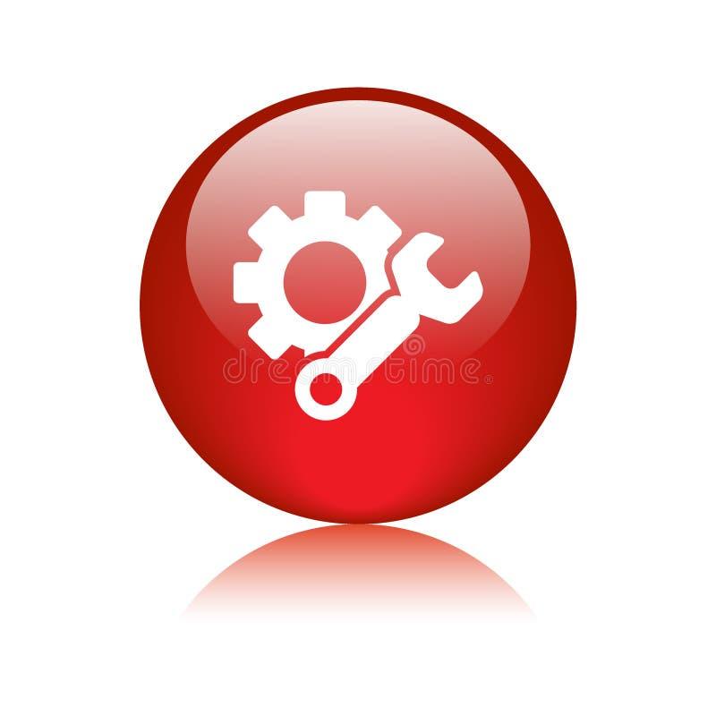 Rojo del botón del web del icono de los ajustes ilustración del vector