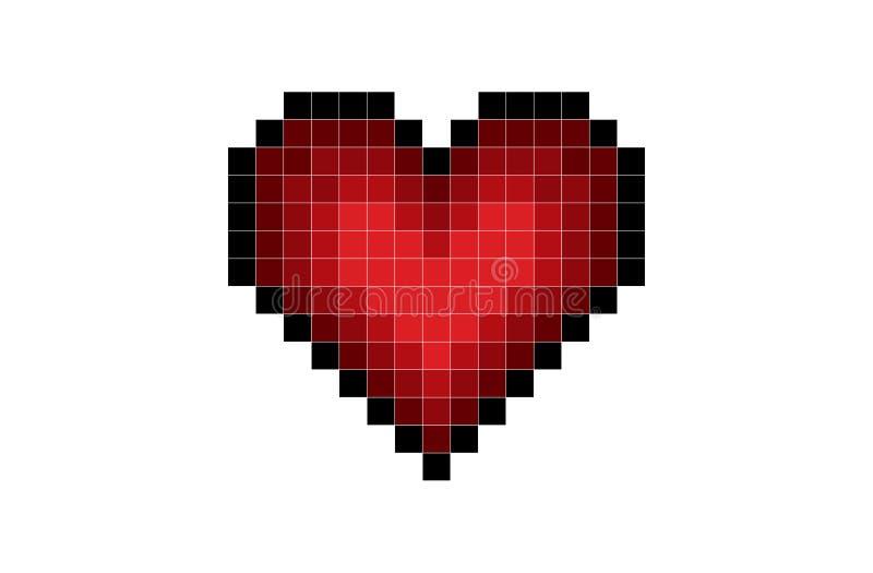 Rojo del corazón del pixel ilustración del vector