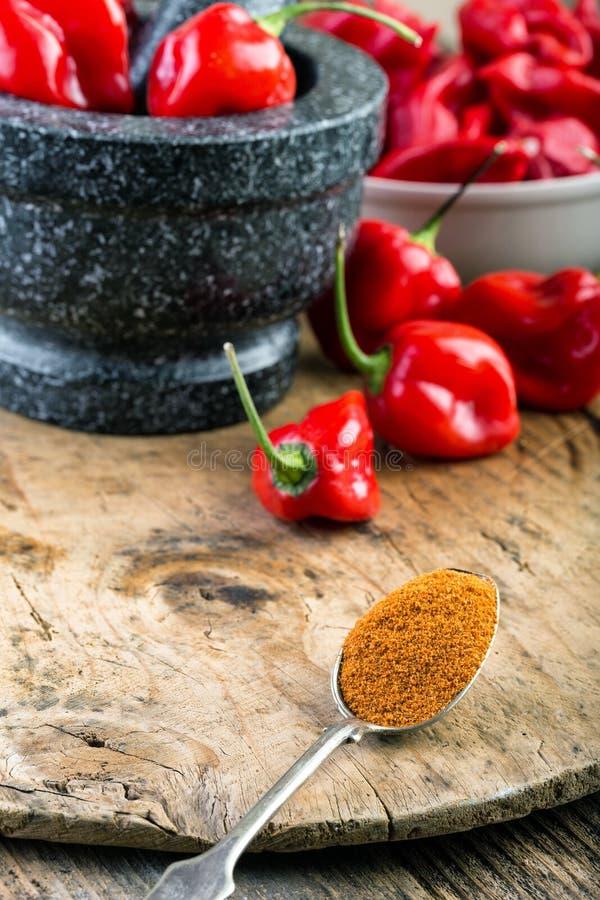 Rojo del habanero - muy fuertemente pimiento picante imagenes de archivo