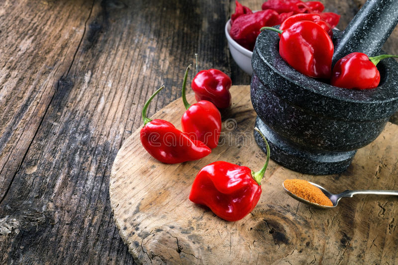 Rojo del habanero - muy fuertemente pimiento picante imagen de archivo