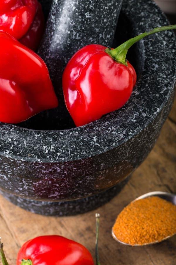 Rojo del habanero - muy fuertemente pimiento picante foto de archivo libre de regalías