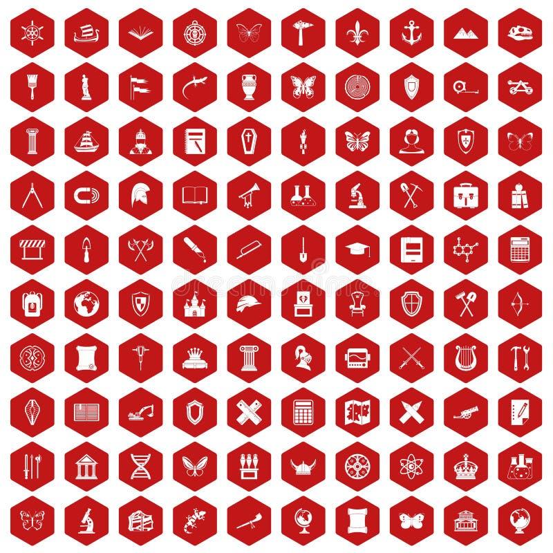 rojo del hexágono de 100 iconos de la arqueología ilustración del vector