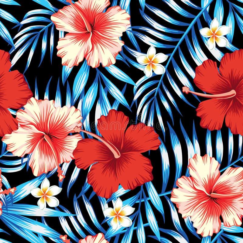 Rojo del hibisco y fondo inconsútil azul de las hojas de palma libre illustration