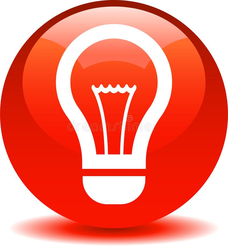 Rojo del icono del bulbo de la idea stock de ilustración