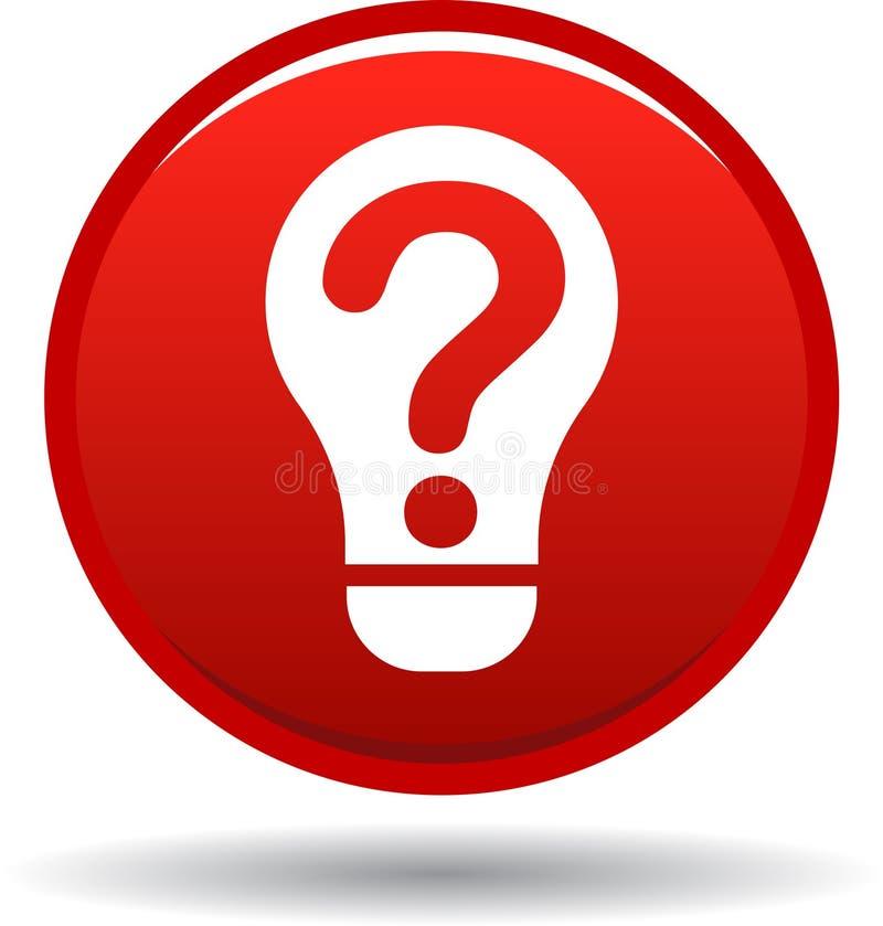 Rojo del icono del bulbo de la pregunta ilustración del vector