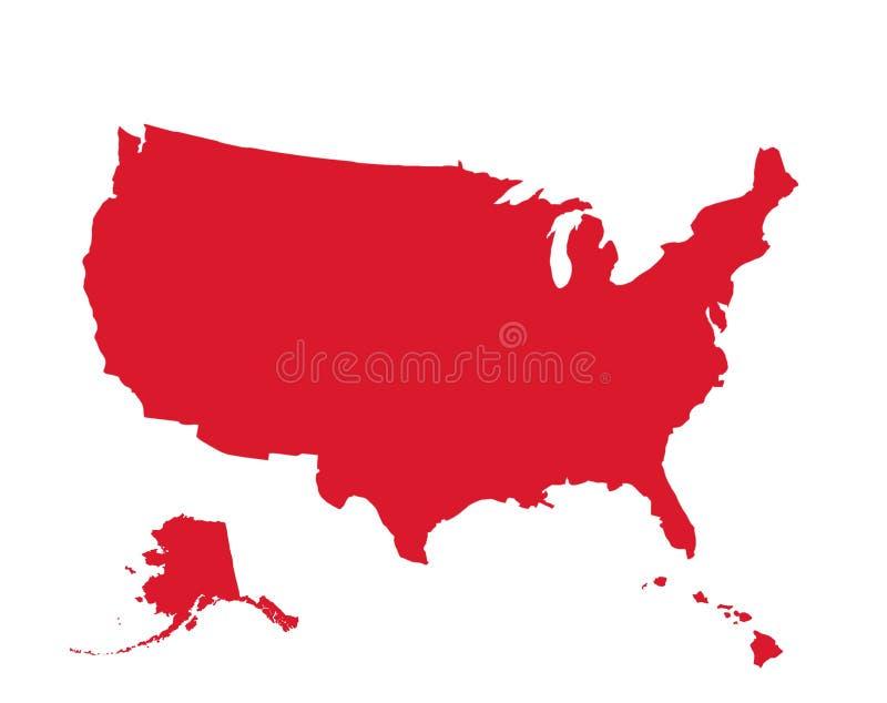 Rojo del mapa de los E.E.U.U. en el fondo blanco ilustración del vector