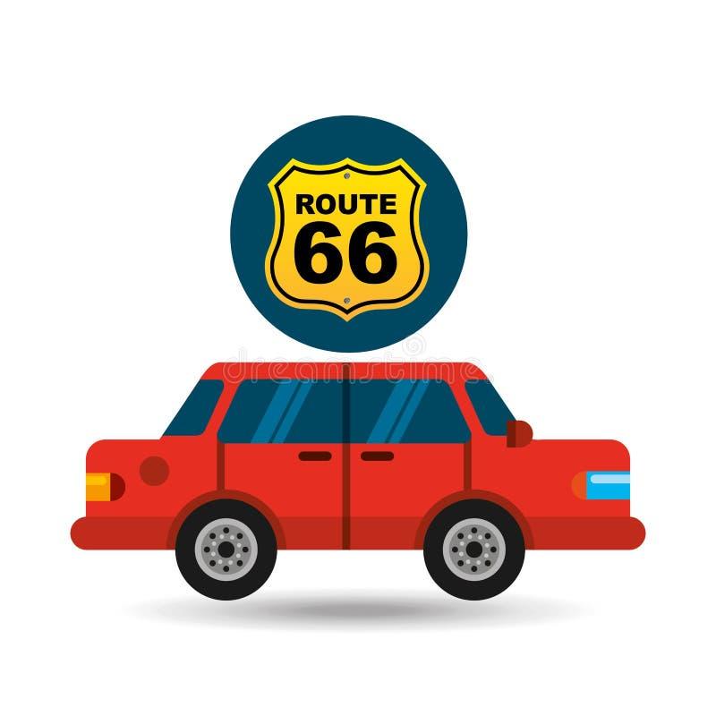 Rojo del sedán de la señal de tráfico de Route 66 stock de ilustración