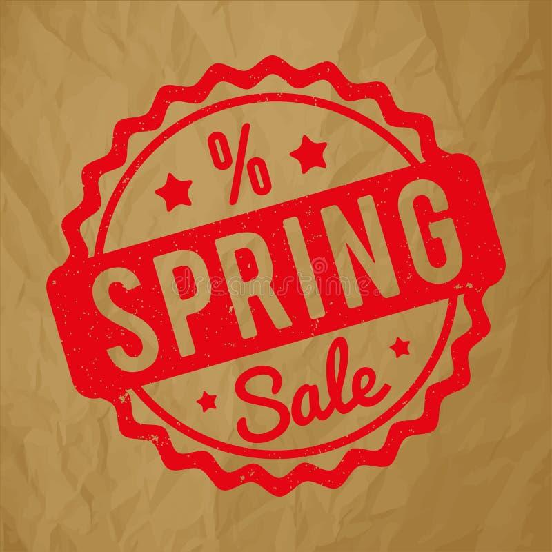 Rojo del sello de goma de la venta de la primavera en un fondo marrón de papel arrugado ilustración del vector
