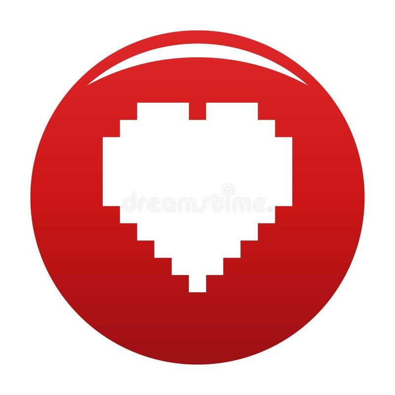 Rojo del vector del icono del coraz?n del pixel ilustración del vector