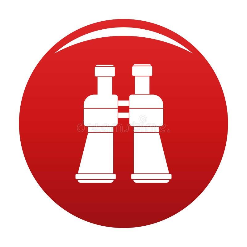 Rojo del vector del icono de los prismáticos stock de ilustración