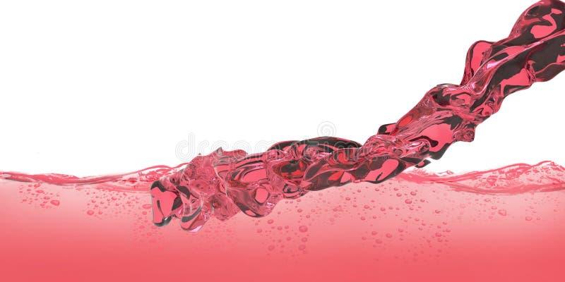 Rojo del vino rojo y del agua con el cierre del movimiento de las burbujas de aire para arriba aislado en el fondo blanco imagenes de archivo
