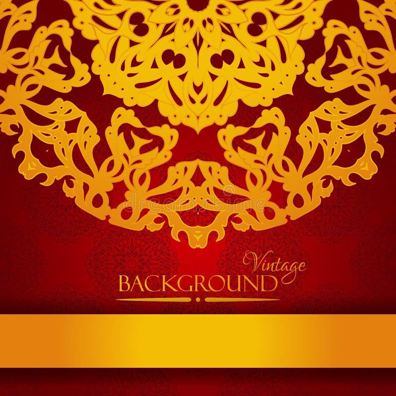 Rojo del vintage y tarjeta elegante de la invitación del oro libre illustration