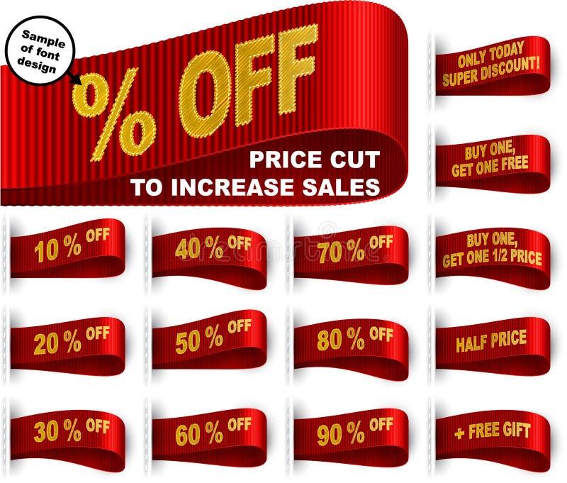Rojo determinado cosido etiqueta autoadhesiva del recorte de precios de la ropa de la etiqueta del márketing stock de ilustración