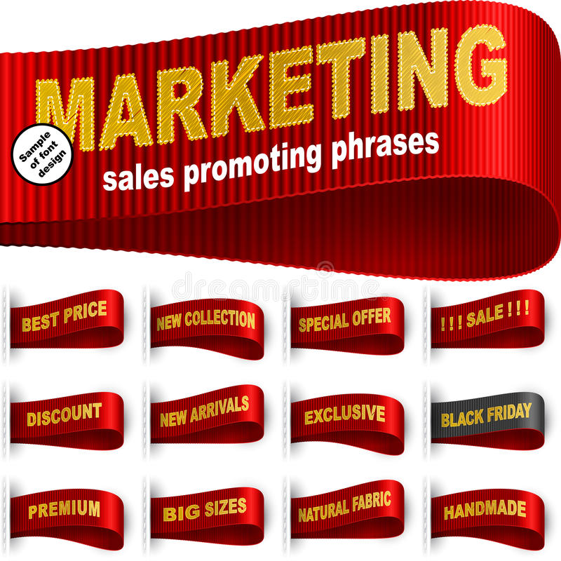 Rojo determinado cosido etiqueta engomada de la frase de la ropa de la etiqueta de la etiqueta del márketing stock de ilustración