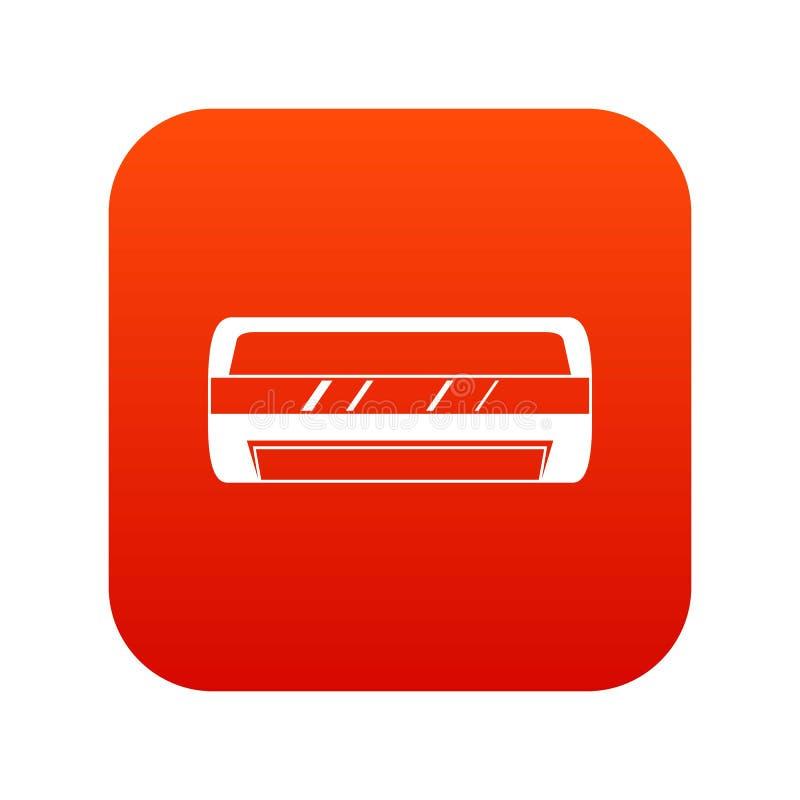 Rojo digital de condicionamiento del icono partido del sistema ilustración del vector