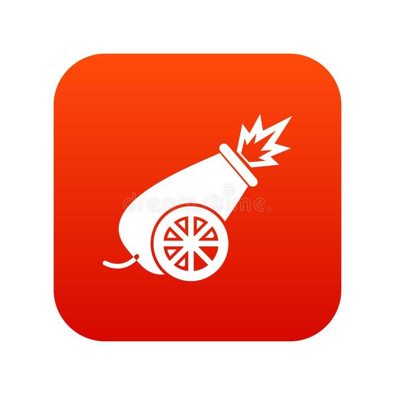 Rojo digital del icono del cañón del circo libre illustration