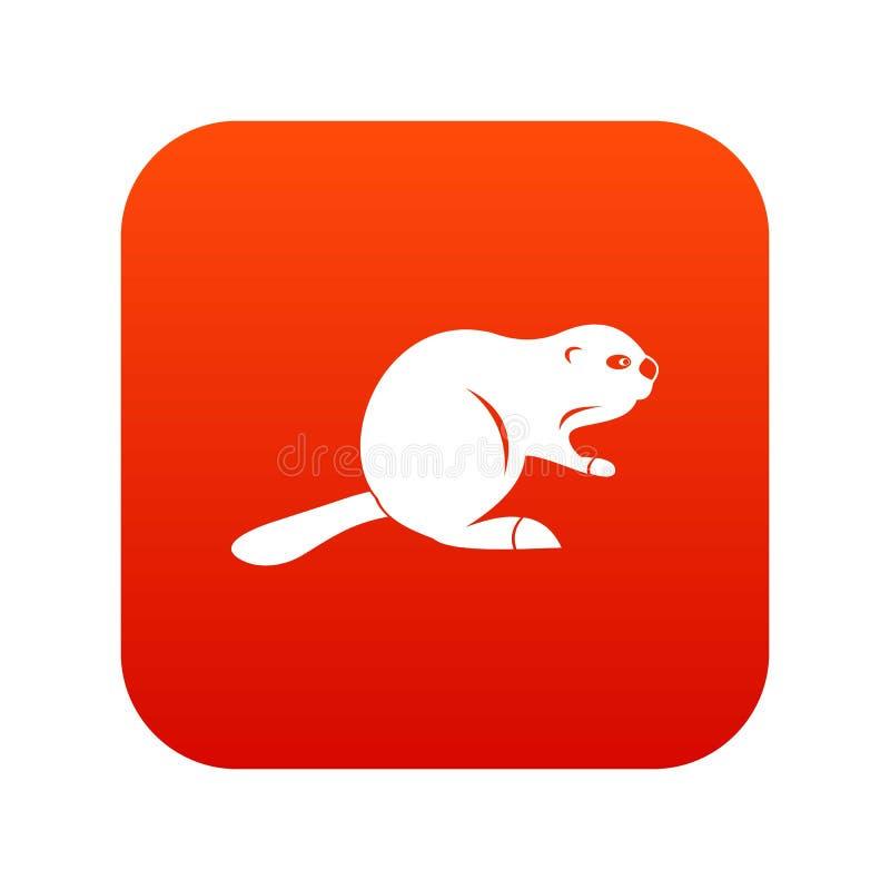 Rojo digital del icono canadiense del castor stock de ilustración