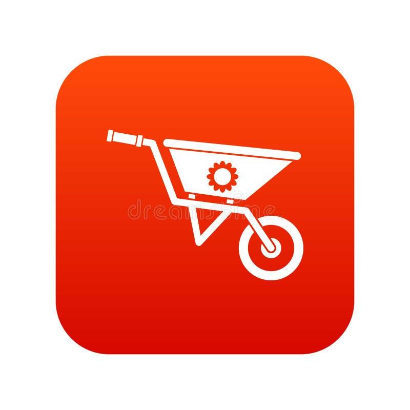 Rojo digital del icono de la carretilla ilustración del vector
