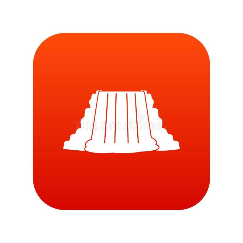 Rojo digital del icono de Niagara Falls stock de ilustración