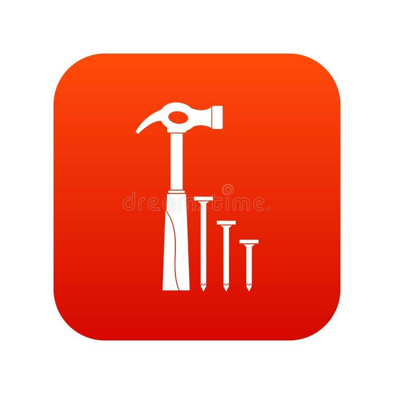 Rojo digital del icono del martillo y de los clavos ilustración del vector