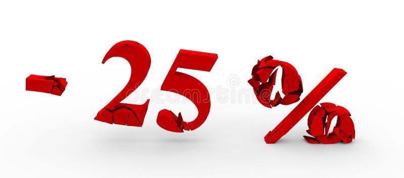 Rojo el veinticinco por ciento apagado Descuento el 25% ilustración 3D ilustración del vector