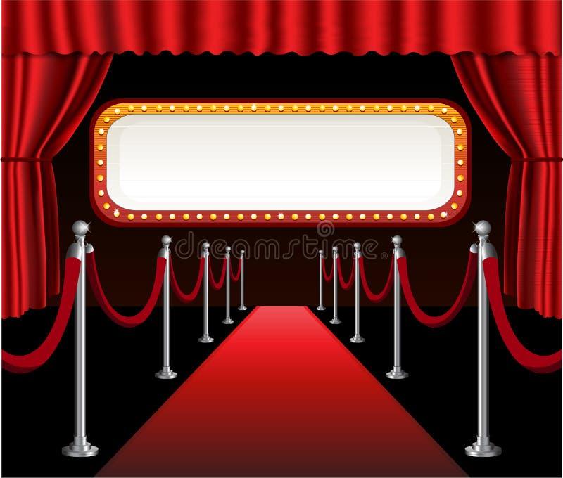 Rojo elegante del evento de la premier de la película de la alfombra roja stock de ilustración