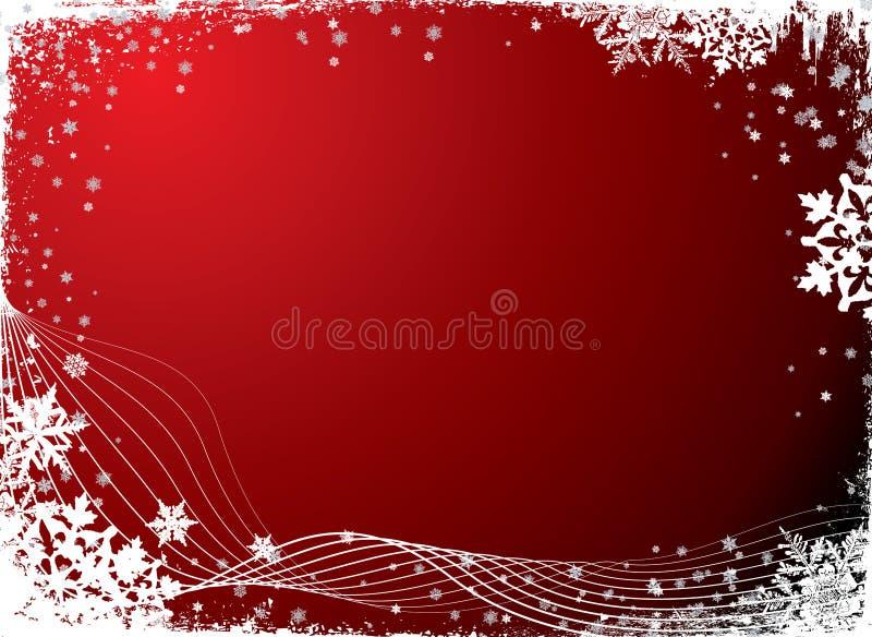 Rojo en blanco del copo de nieve ilustración del vector