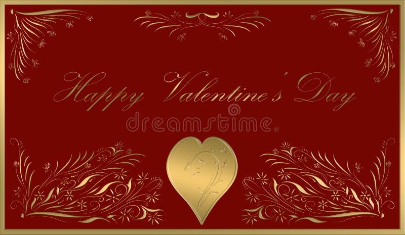 Rojo feliz de la tarjeta del día de tarjetas del día de San Valentín ilustración del vector