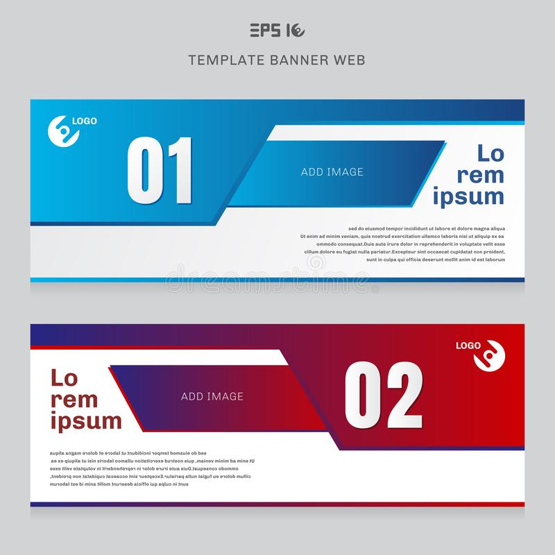 Rojo geométrico del extracto de la disposición de la plantilla de la web de la bandera y color azul ilustración del vector