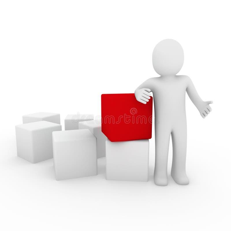 rojo humano del cubo 3d ilustración del vector