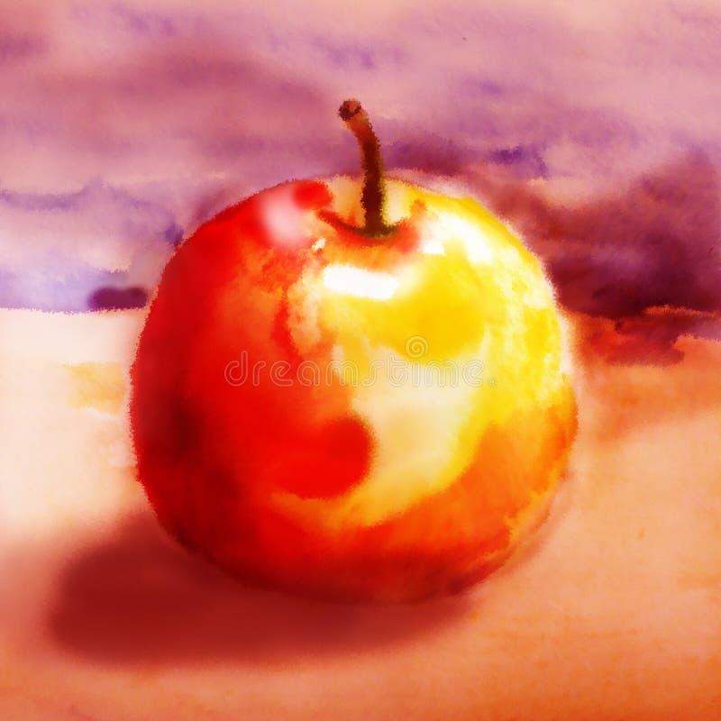 Rojo - manzana amarilla en un fondo caliente libre illustration
