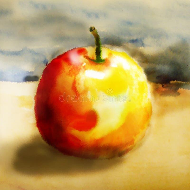 Rojo - manzana amarilla en un fondo frío ilustración del vector