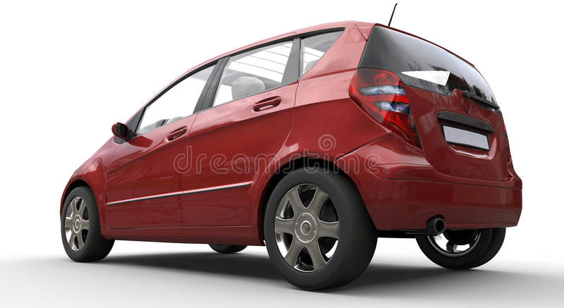 Rojo moderno del coche compacto fotografía de archivo libre de regalías