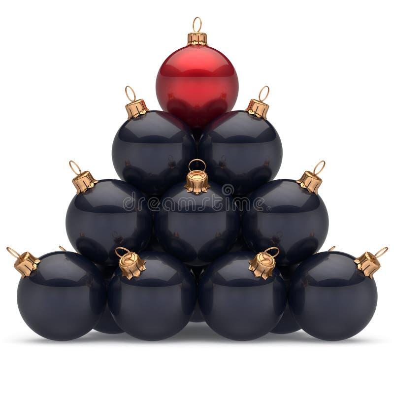 Rojo negro del líder de las bolas de la Navidad de la pirámide en el primer triunfo del lugar del top ilustración del vector
