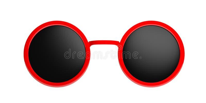 Rojo redondo de las gafas de sol con la lente negra, recorte, aislado en un fondo blanco, ejemplo 3d libre illustration