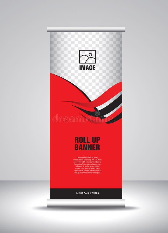 Rojo ruede para arriba el vector de la plantilla de la bandera, bandera, soporte, dise?o de la exposici?n, anuncio, levantan, x-b stock de ilustración